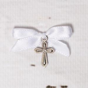 Cruciulite botez cu pietricica transparenta si fundita alba