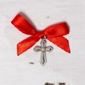 Cruciulite botez cu pietricica transparenta si fundita rosie