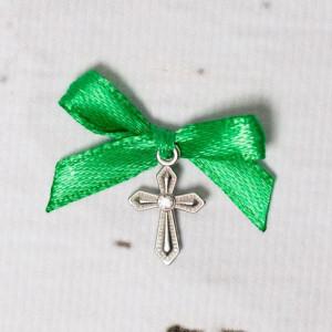 Cruciulite botez cu pietricica transparenta si fundita verde