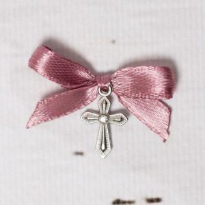 Cruciulite botez cu pietricica transparenta si fundita roz prafuit
