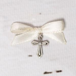 Cruciulite botez cu pietricica transparenta si fundita ivory