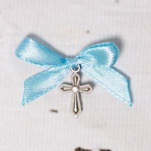 Cruciulite botez cu pietricica transparenta si fundita bleu