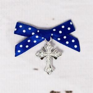 Cruciulite botez biserica cu fundita albastra si buline albe