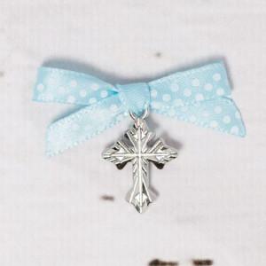 Cruciulite botez biserica cu fundita bleu si buline albe