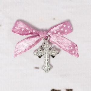 Cruciulite botez biserica cu fundita roz prafuit cu buline