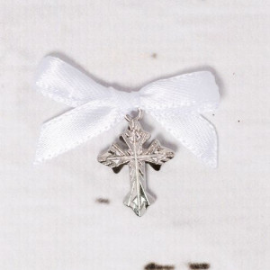 Cruciulite botez argintii cu fundita alba