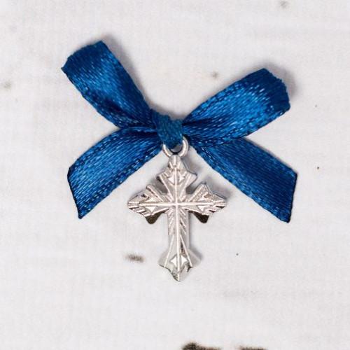Cruciulite botez argintii cu fundita bleumarin
