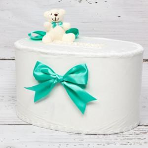 Cutie de dar cu ursulet plus si funde verde menta