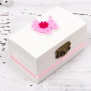 Cutiuta mot botez carucior roz