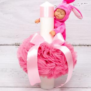 Lumanare botez fetite tulle si bebelus roz