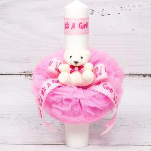 Lumanare botez tulle roz, ursulet plus si banda It s a girl