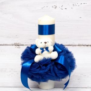 Lumanare botez tulle albastru si ursulet plus