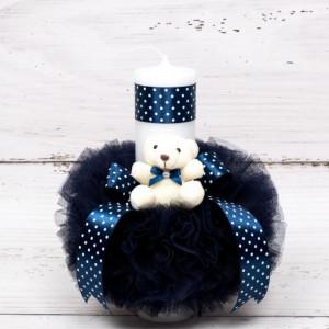 Lumanare botez tulle bleumarin, ursulet plus si banda bleumarin cu buline