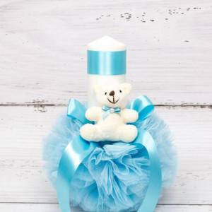 Lumanare botez cu tulle, ursulet si panglica bleu