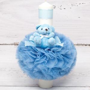 Lumanare botez cu tulle bleu, ursulet si panglica bleu cu buline