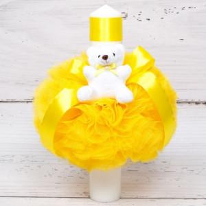 Lumanare botez cu tulle galben, ursulet plus si floarea-soarelui