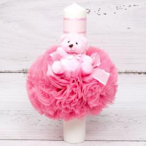 Lumanare botez decor tulle si ursulet plus roz cu panglica asortata