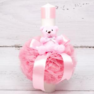 Lumanare botez decor roz cu tulle, panglica si ursulet plus