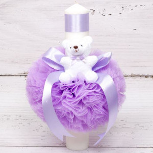 Lumanare botez tulle lila, ursulet plus si panglica asortata