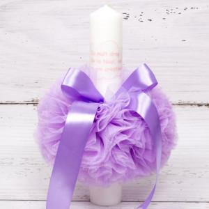 Lumanare botez decor lila Cu mult drag de la nasi