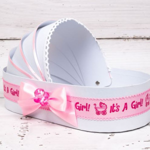 Cutie trusou botez biserica tip landou cu decor roz It s a girl si suzeta