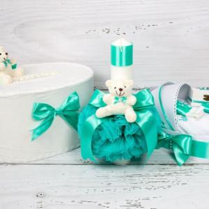 Set cutie de dar, lumanare si trusou botez verde menta