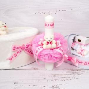 Set cutie de dar, lumanare si trusou botez cu decor roz It s a girl
