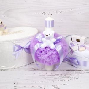 Set cutie de dar, lumanare si trusou botez cu decor lila