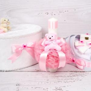 Set cutie de dar, lumanare si trusou botez cu decor roz, ursulet plus si figurina carucior