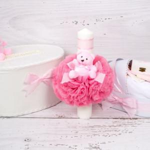 Set cutie de dar, lumanare si trusou botez cu decor roz cu buline si ursulet