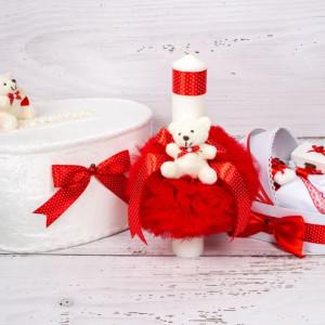 Set cutie de dar, lumanare si trusou botez cu decor rosu si buline