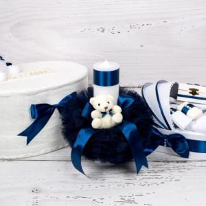 Set cutie de dar, lumanare si trusou botez cu decor bleumarin