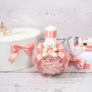 Set cutie de dar, lumanare si trusou botez cu decor roz pudra