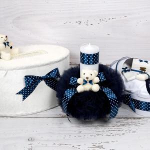 Set cutie de dar, lumanare si trusou botez cu decor bleumarin cu buline