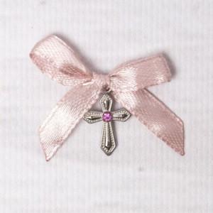 Cruciulite botez cu pietricica roz si fundita roz pudra