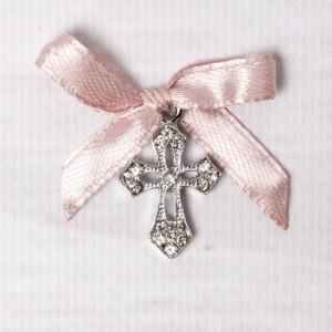 Cruciulite botez elegante cu fundita roz pudra