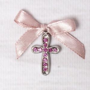 Cruciulite botez cu strassuri roz si fundita roz pudra