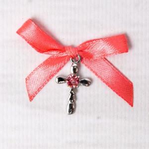 Cruciulite botez strass roz si fundita corai