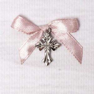 Cruciulite botez argintii cu fundita roz pudra