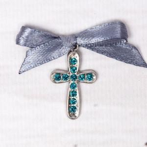 Cruciulite botez cu strassuri bleu si fundita gri