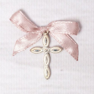 Cruciulite lacrima botez cu fundita roz pudra