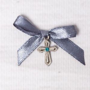 Cruciulite botez cu pietricica bleu si fundita gri