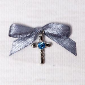 Cruciulite botez strass albastru si fundita gri