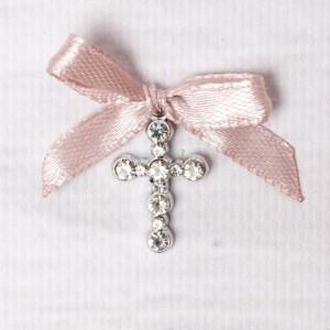 Cruciulite botez strassuri transparente si fundita roz pudra