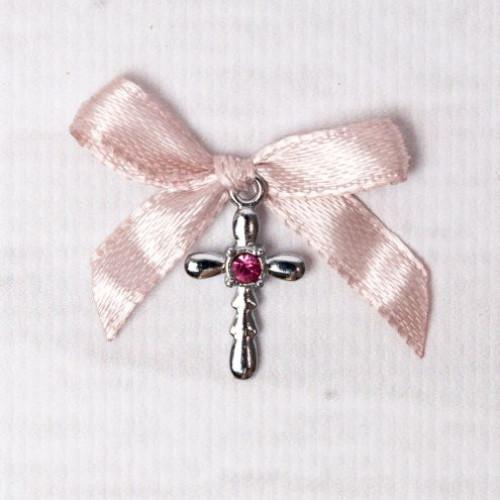 Cruciulite botez strass roz si fundita roz pudra