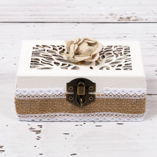 Cutiuta verighete nunta cu decor rustic