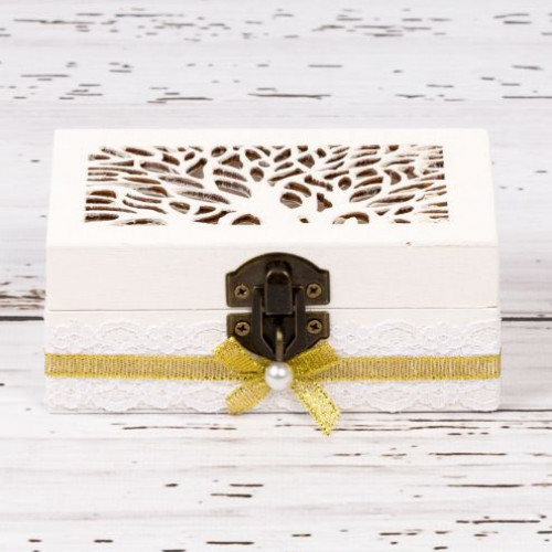 Cutiuta verighete nunta cu decor auriu