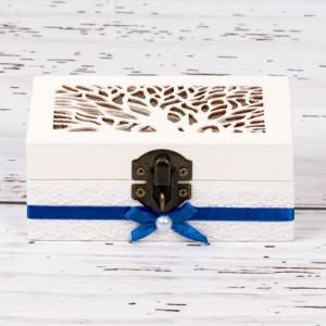 Cutiuta verighete nunta cu decor albastru