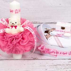Set trusou botez si lumanare roz It s a girl