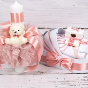 Set trusou botez si lumanare roz pudra